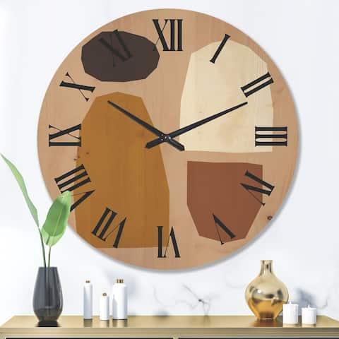 Designart 'Minimal Elementary Organic And Geometric Compostions XXXXVII' Modern Wood Wall Clock