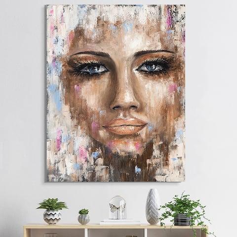 Designart 'Portrait Of A Young Woman I' Traditional Canvas Wall Art Print