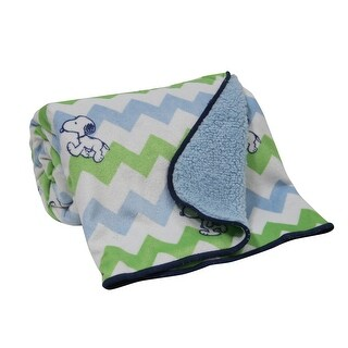 Bedtime Originals Blue Snoopy Chevron Velour Sherpa Blanket