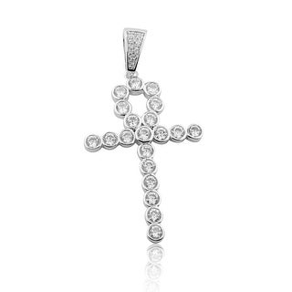 Egyptian Cross Charm Mens Sterling Silver With CZ 40mm Tall