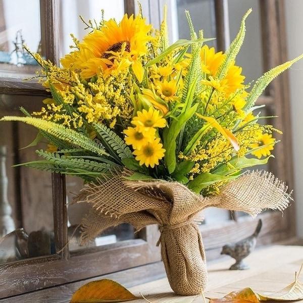 Rusticreach Artificial Flower Bouquet Artificial Yellow Sunflower Bouquet 21 Tall On Sale Overstock 24074058