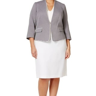 Tahari By ASL NEW Blue Women's Size 18W Plus Jacquard Skirt Suit Set