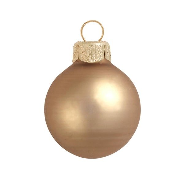 "40ct Matte Cognac Brown Glass Ball Christmas Ornaments 1.5"" (40mm)"