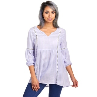 August Silk Women's Abbreviated Sleeve V-Neck Stripe Blouse