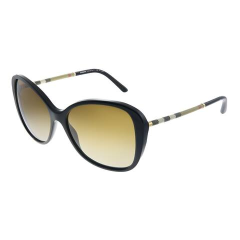 Burberry BE 4235Q 3001T5 Womens Black Frame Brown Gradient Polarized Lens Sunglasses