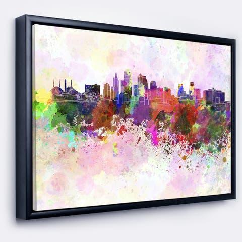 Designart 'Kansas City Skyline' Cityscape Framed Canvas Artwork Print