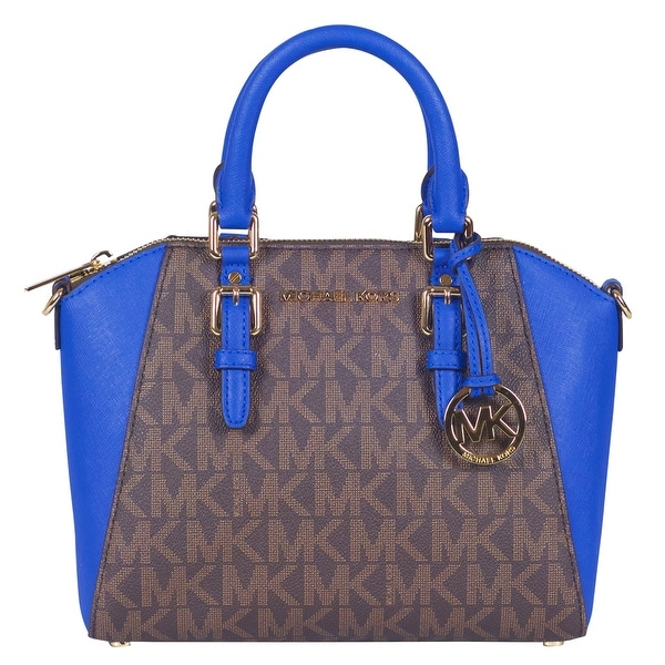 Michael Kors Medium Signature Ciara Messenger Handbag In Brown Electric Blue