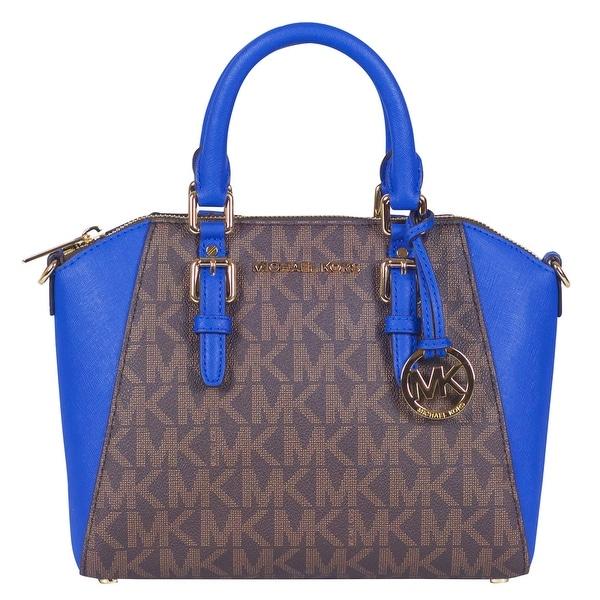 c79619fc071347 Shop Michael Kors Medium Signature Ciara Messenger Handbag in Brown/  Electric Blue - Free Shipping Today - Overstock - 22703188