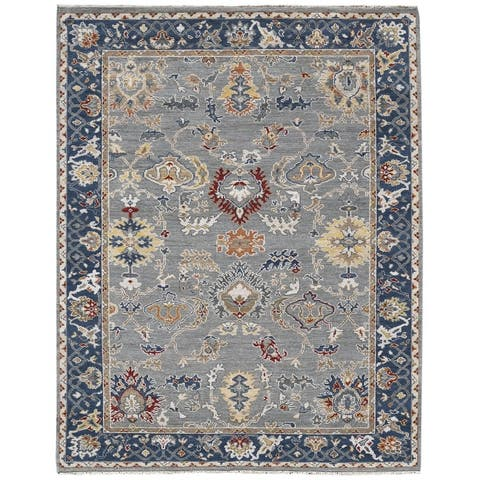 Brisley Anne Blue Hand-Knotted Wool Area Rug