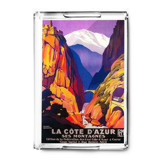 France - La Cote D'Azur - Vintage Travel Advertisement (Acrylic Serving Tray)