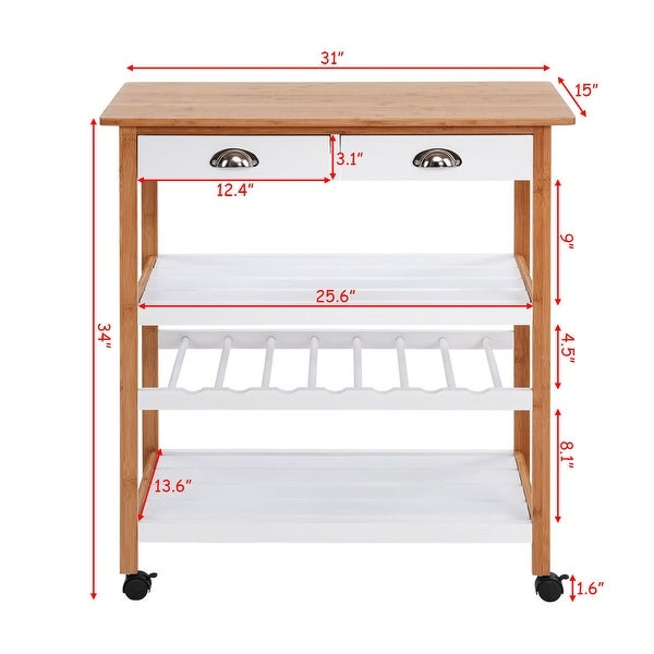 Wood Kitchen Rolling Cart Portable Island Trolley End Table Shelves Bamboo NEW