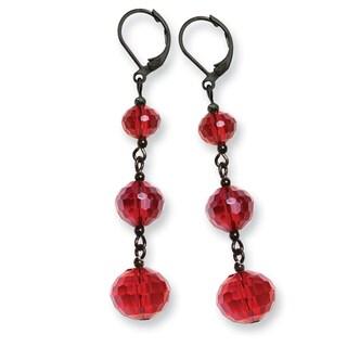 Black IP Red Crystal Beaded Cluster Drop Earrings