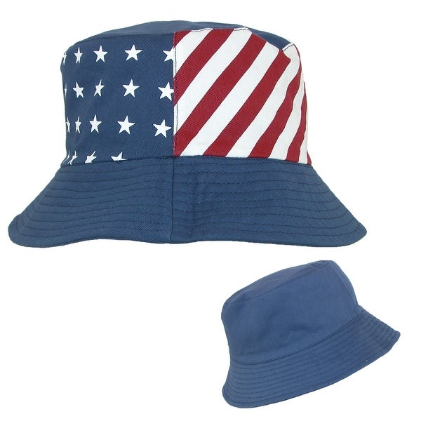 c0f310e4816f3e Something Special Cotton American Flag USA Reversible Bucket Hat - One size  - Red