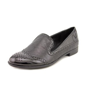 Franco Sarto Tweed Women Wingtip Toe Patent Leather Black Loafer
