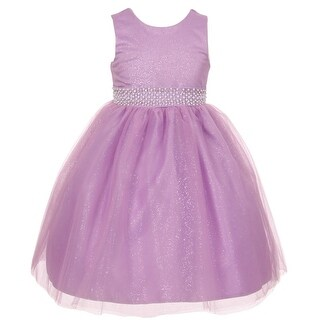 Rain Kids Little Girls Lilac Sparkly Tulle Pearls Occasion Dress 2-6