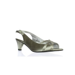 David Tate Womens Regal Silver Satin Peep Toe Heels Size 10 (2E)