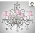 Swarovski Crystal Trimmed Crystal Chandelier Lighting With Pink Shades & Crystal Balls - Thumbnail 0