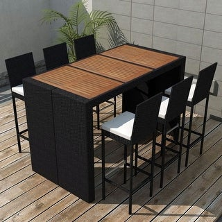 Link to vidaXL 7 Piece Outdoor Dining Set with Cushions Poly rattan Black Similar Items in Patio Furniture