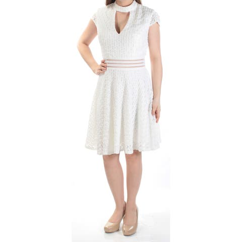 CITY STUDIO Womens Ivory Cut Out Lace Cap Sleeve Halter Above The Knee Fit + Flare Dress Juniors Size: 9