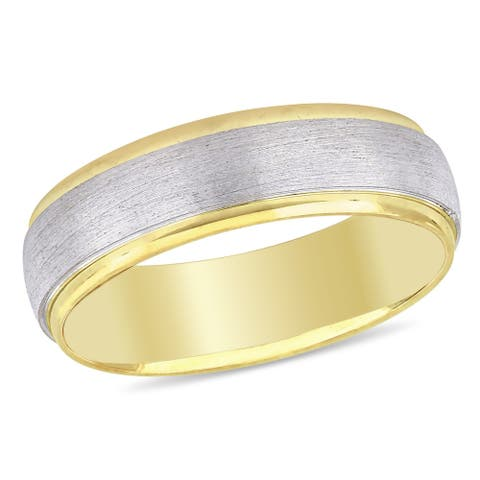 Miadora Ladies Brushed Comfort Fit Wedding Band in 2-Tone 10k Yellow and White Gold (6mm)