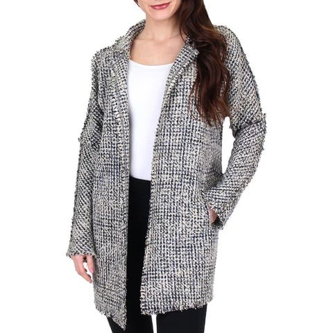Nic + Zoe Womens Transformative Tweed Jacket Open Front Long Sleeves