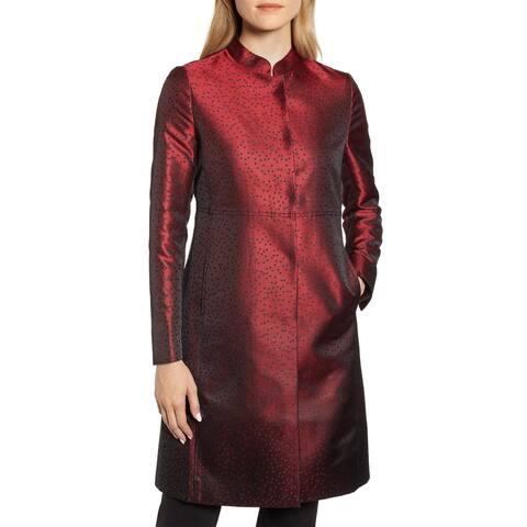 Anne Klein Womens Camille Dot Topper Jacket 6 Dark Titian Red & Black