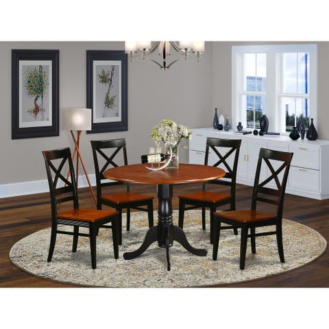 East West Furniture Modern 5 PC Kitchen Table set-Dining Table and 4 Kitchen Chairs (Finish Option)