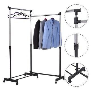 Costway L Shape Adjustable Heavy Duty Garment Rack Lengthened Rolling Clothes Hanger