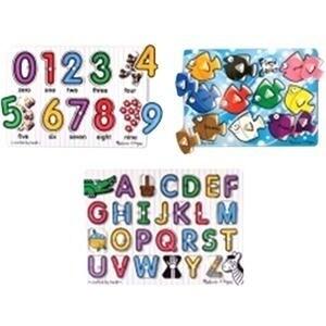 Melissa & Doug 4395 Melissa & Doug Classic Peg Puzzle Bundle (3 Puzzle Bundle) - Peg Puzzles - Alphabet- Numbers - Colors -