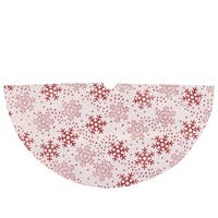 "20"" Decorative White and Red Glitter Snowflake Design Mini Christmas Tree Skirt"