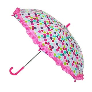 CTM® Kids' Polka Dot Print Stick Umbrella with Ruffled Edge - One size