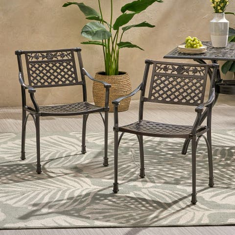 """Ridgecrest Traditional Outdoor Aluminum Dining Chair (Set of 2) by Christopher Knight Home - 24.25"""" W x 21.75"""" D x 31.50"""" H"""