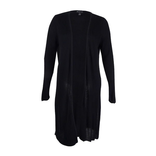 e741e2f3cc5 Shop INC International Concepts Women s Plus Size Ribbed Maxi Cardigan -  Deep Black - Free Shipping On Orders Over  45 - Overstock - 17019004