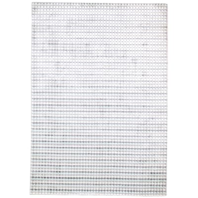 One of a Kind Hand-Woven Modern 5' x 8' Plaid Recycled Fibers Grey Rug - 5' x 7'