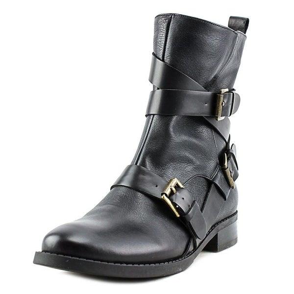 Nine West Trentao Round Toe Leather Mid Calf Boot