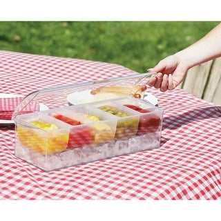 Icy Cold Condiment Server - Plastic Portable Picnic Party Serving Tray