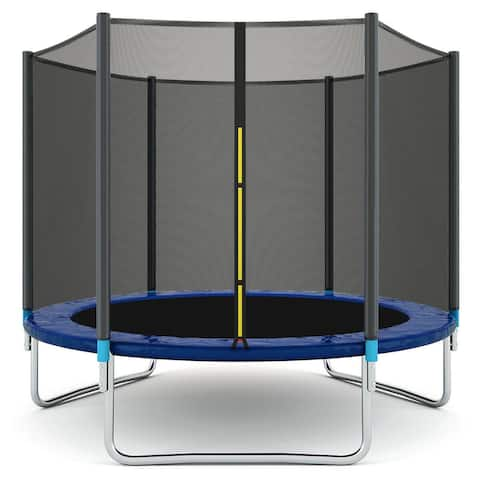 Gymax 8 FT Trampoline Combo Bounce Jump Safety Enclosure Net W/Spring Safety Pad - 8 ft