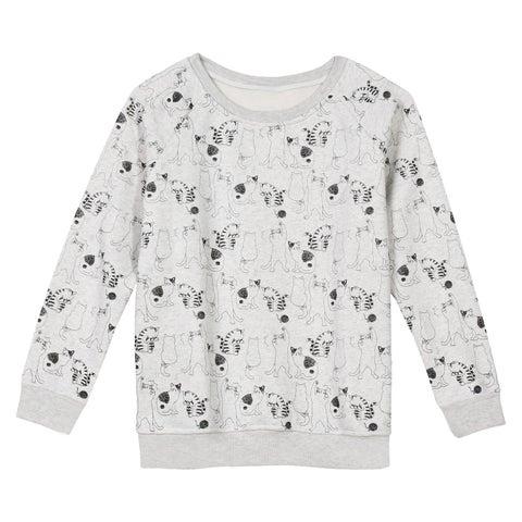 Catalog Classics Women's A Study In Cats Sweatshirt - Long Sleeve Crewneck Gray