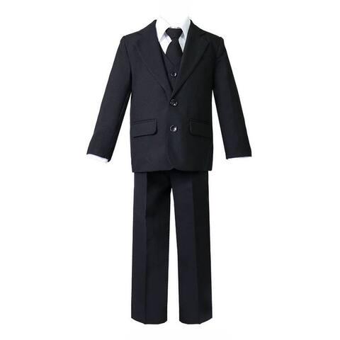 Big Boys Black 5 Pcs Shirt Vest Jacket Tie Pants Suit