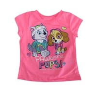 "Hasbro Little Girls Neon Pink ""Pawsome Pups"" Print Short Sleeve T-Shirt"