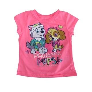 "Hasbro Little Girls Neon Pink ""Pawsome Pups"" Print Short Sleeve T-Shirt"