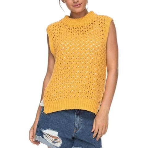 Roxy Womens Yellow Size Small S Mock Neck High Low Crochet Knit Sweater