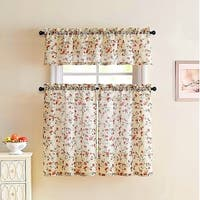Emeria Faux Linen Sheer Floral Kitchen Curtain Set, Beige-Red, 57x15 & 28x36 Inches - 28x36 inches