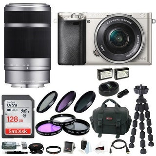 Sony Alpha a6000 Mirrorless Camera w/ 16-50mm & 55-210mm Lens & 128GB SD Bundle