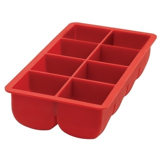 Link to HIC Red Silicone Big Block Ice Cube Tray and Baking Mold - Makes 8 Oversized Cubes Similar Items in Glasses & Barware