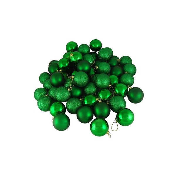 "180ct Xmas Green Shatterproof 4-Finish Christmas Ball Ornaments 2.5"" (60mm)"