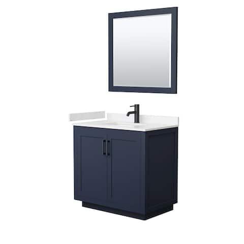 Miranda Single Vanity Set, Cultured Marble Top, 34-Inch Mirror