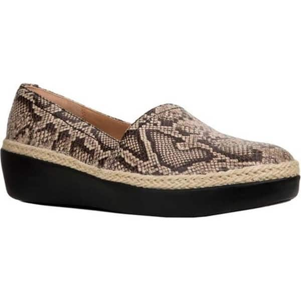 1603a3cd FitFlop Women's Casa Wedge Loafer Taupe Snake Embossed Leather/Jute Trim