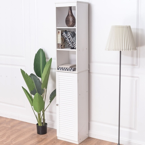 Costway 71\'\' Tall Bathroom Tower Cabinet Louvered Shelf Organizer ...