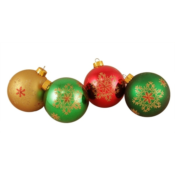 "4ct Glittered Snowflake Shatterproof Christmas Ball Ornaments 3.25"" (80mm) - multi"